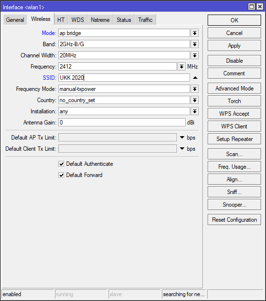 Konfigurasi SSID MikroTik