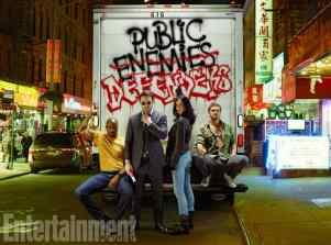 L to R: Luke Cage, Daredevil, Jessica Jones, Iron Fist