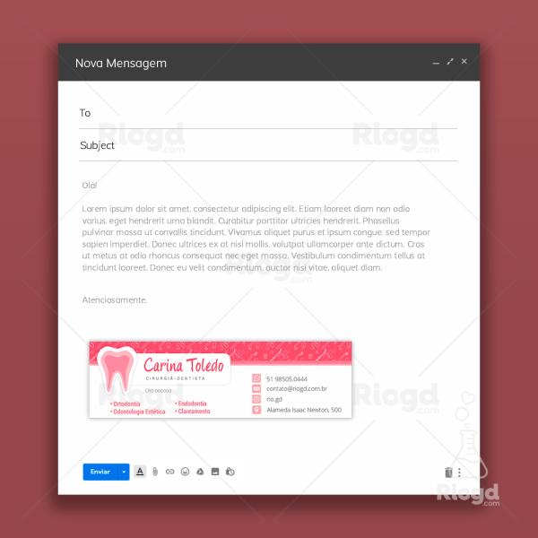 Assinatura de e-mail odontologia Rosa