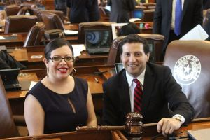 State Representatives Mary González of Clint and Poncho Nevárez of Eagle Pass are desk mates in the Texas House. (Photo: RGG/Steve Taylor)