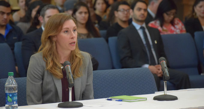 Caryn Schenewerk, senior counsel and director of governmental affairs for SpaceX, is pictured testifying at a legislative hearing held at UT-Rio Grande Valley in Brownsville.