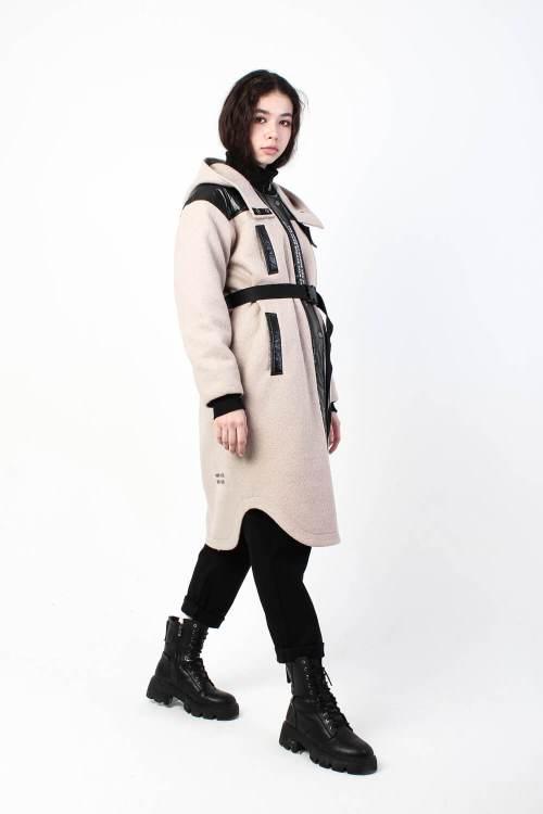 Пальто из вареной шерсти Sher бежевое