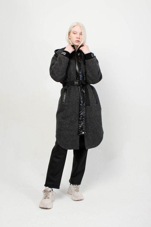 Пальто из вареной шерсти Sher серое