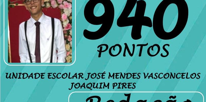 Victor Augusto, aluno da Unidade José Mendes Vasconcelos.