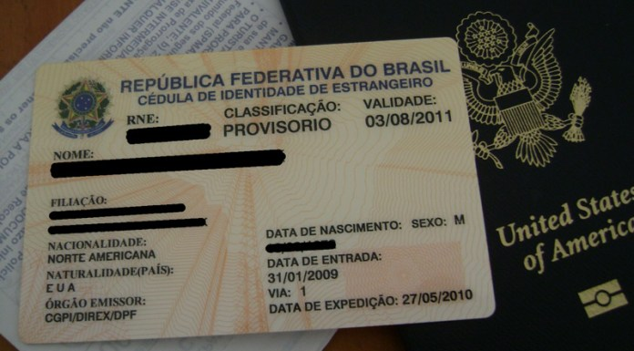 CIE card issued in Brazil that contains a Registro Nacional de Estrangeiros (RNE)