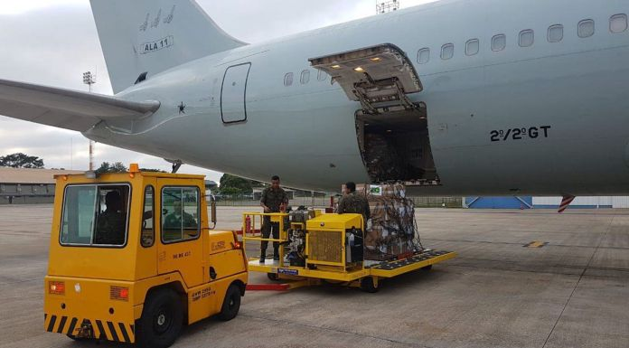Brazil,Brazilian Armed Forces loading twenty two tons of powdered milk and medicine to be sent over the border to Venezuela