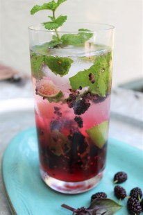 Mulberry and garden mint mojitos.