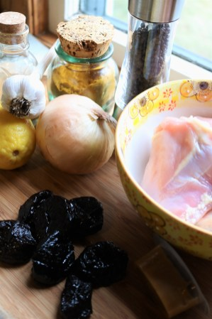 Another combination of braise ingredients: chicken breasts, onion, dried plums, garlic, lemon, chicken stock concentrate, black pepper, toasted fennel, and scratch curry.