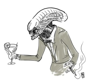 Alien with martini