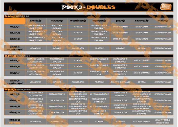P90x3 Classic Workout Schedule Excel | freesub4 com