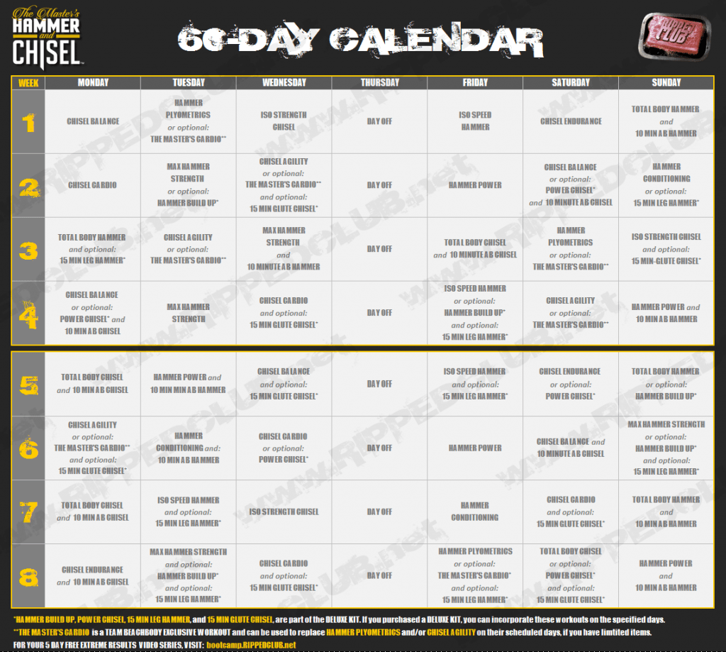 Hammer Amp Chisel Workout Schedule Free Download