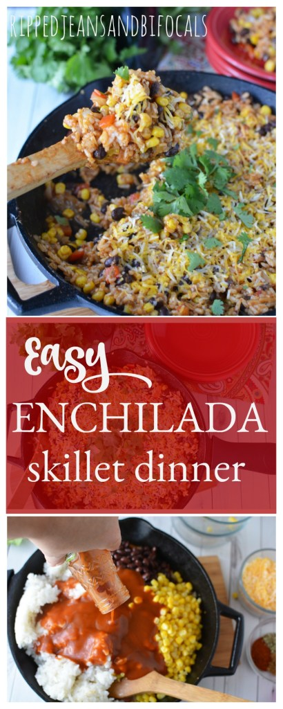 This easy enchilada skillet dinner is one of my family's go-to weeknight dinners. This easy, weeknight, one skillet meatless meal can be made with ingreidents you probably have on hand Ripped Jeans and Bifocals