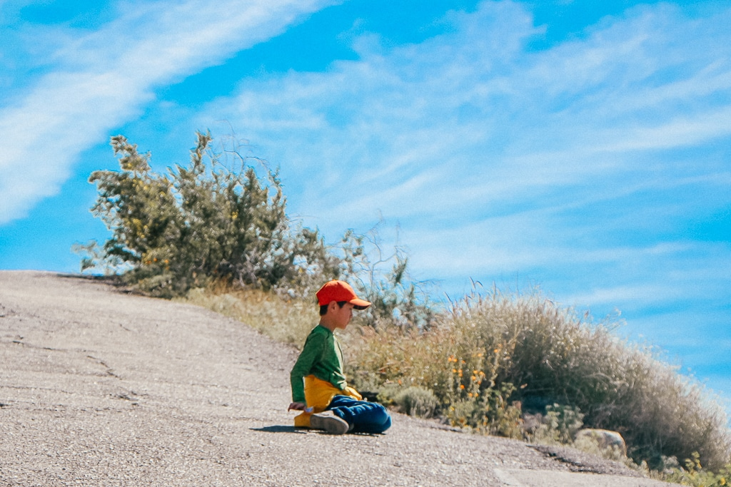 The Complete Guide to Tempe with Kids|Little boy hiking A Mountain in Tempe AZ