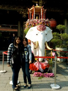 By the elephant!