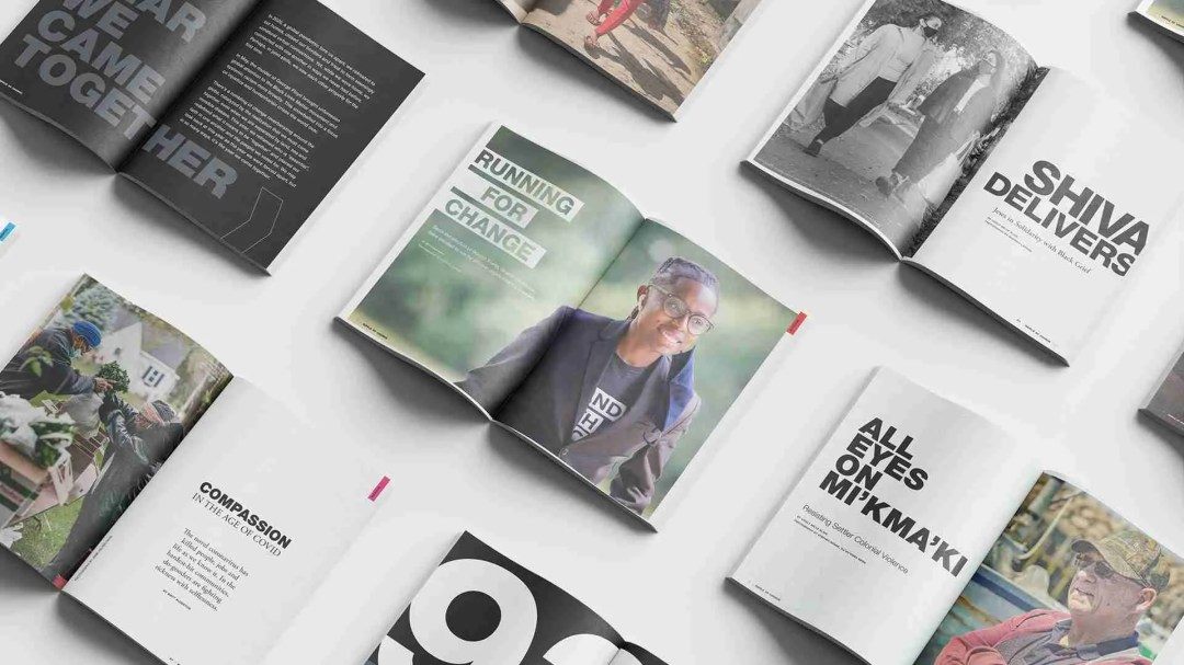 RIPPLE OF CHANGE Issue 01 – a spread of open pages from the magazine
