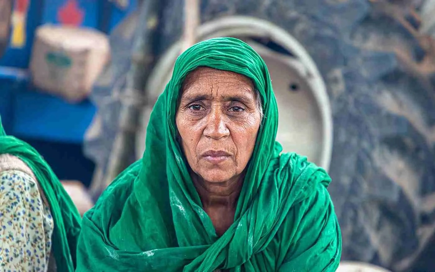 New Delhi, India, December 25, 2020 –Portrait of a lady farmer during the farmers protest at Singhu border