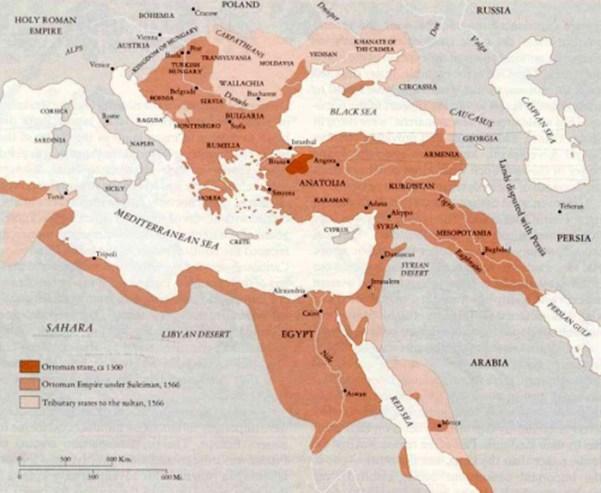 Evoluția Imperiului Otoman din 1300 până în 1566