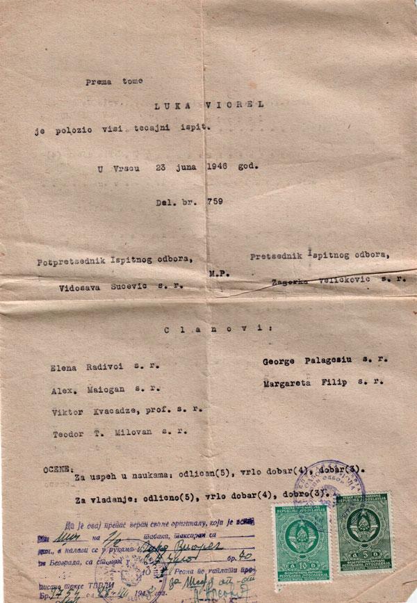 Certificat de absolvire a Liceului, anul școlar 1945/46