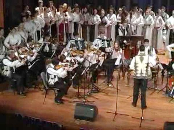 """Orchestra de muzică populară a S.C.A """"Luceafărul"""" din Vârseț la Festivalul de Folclor şi Muzică Românească din Voivodina, Republica Serbia - Coștei, 2011"""