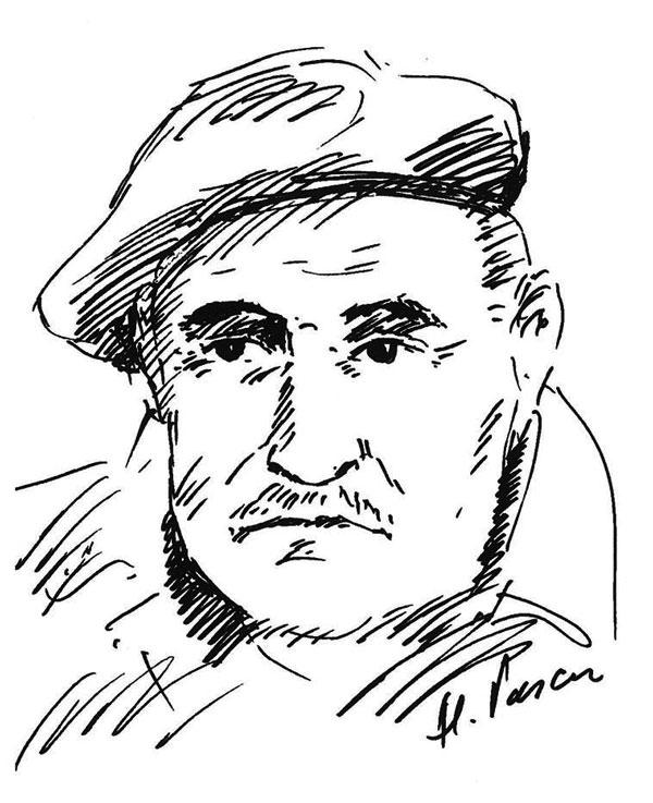 Aurel Mioc, schiță de portret realizată de pictorul Alexandru Pascu