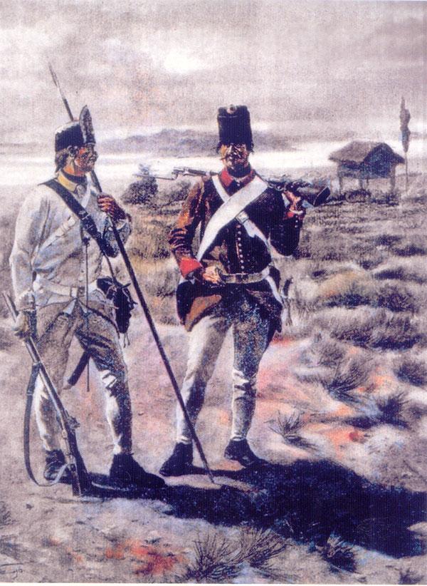 Solda'ii gr[niceri ai Regimentului germano-b[n['ean de Grani'[, secolul al XVIII-lea (colec'ia Muzeului din Panciova)