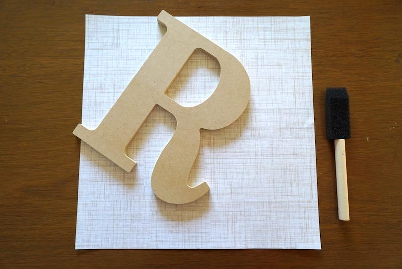 decoupage mod podge letter