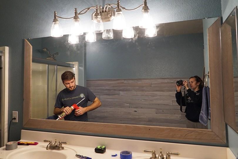 partially assembled diy bathroom mirror frame