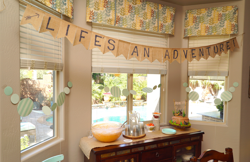 adventure-themed baby shower decor