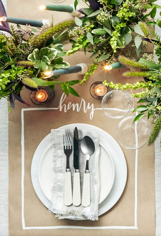 Thanksgiving Table Ideas - butcher block paper setting
