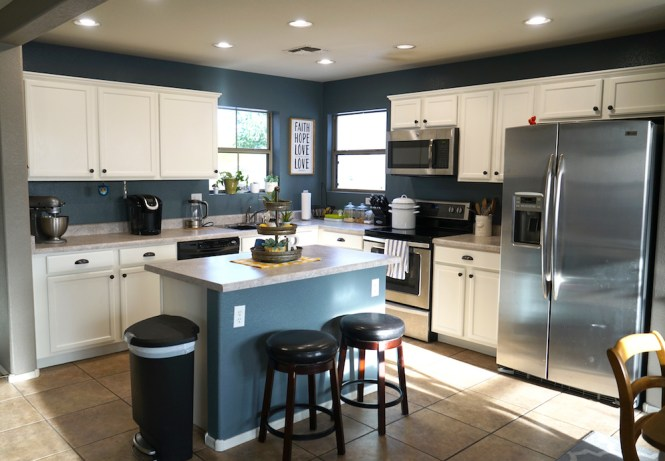 how to paint kitchen cabinets white - after