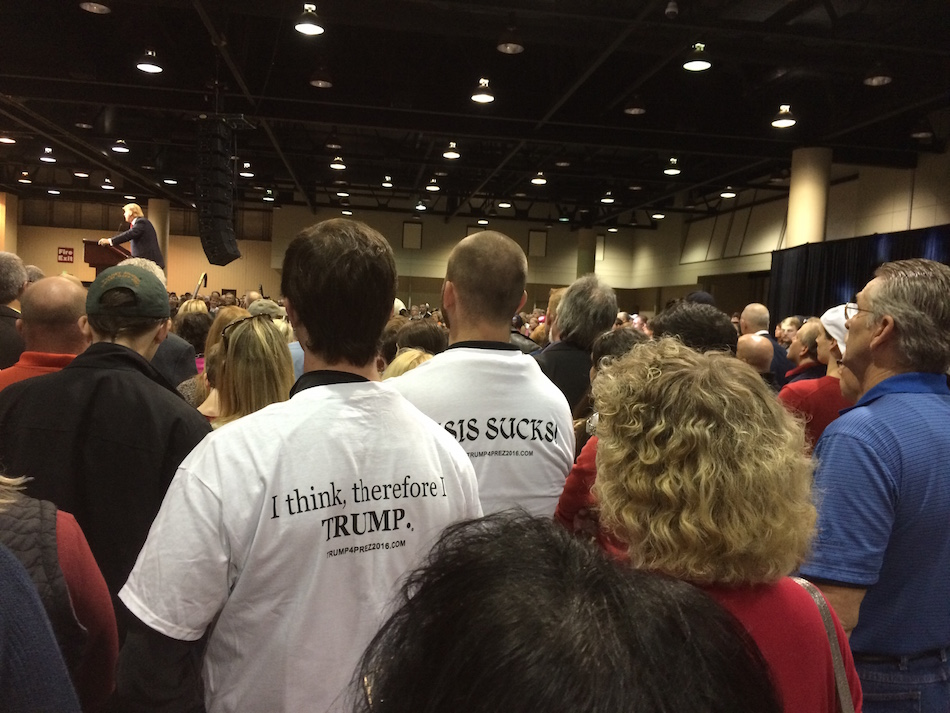Donald Trump supporters listen to the candidate speak. Photo Credit: Jordan Cissell/ Rise News.