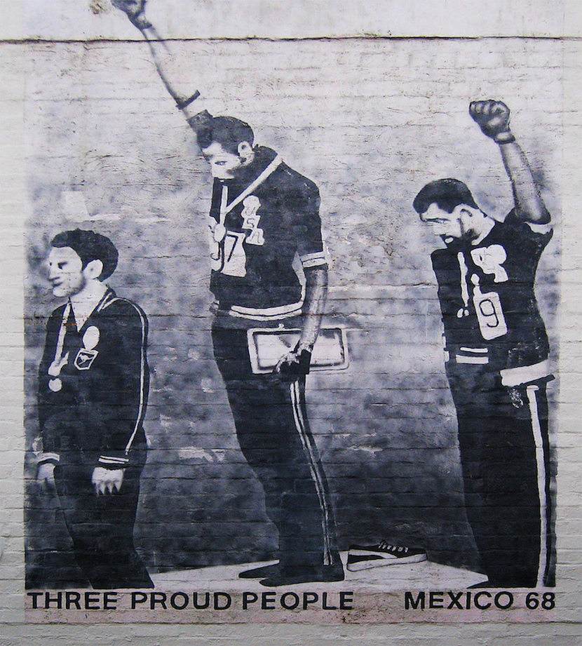 """A grafitti version of the famous """"black power"""" salute from the 1968 Olympic Games. Photo Credit: Newtown grafitti"""