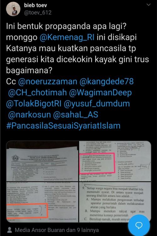 Viral Ujian Fiqih Di Kediri Cantumkan Soal Khilafah Warganet