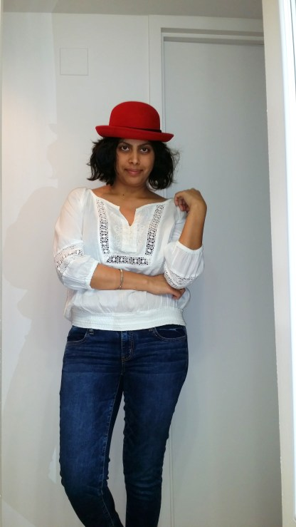 Red Hat and a Peasant Blouse