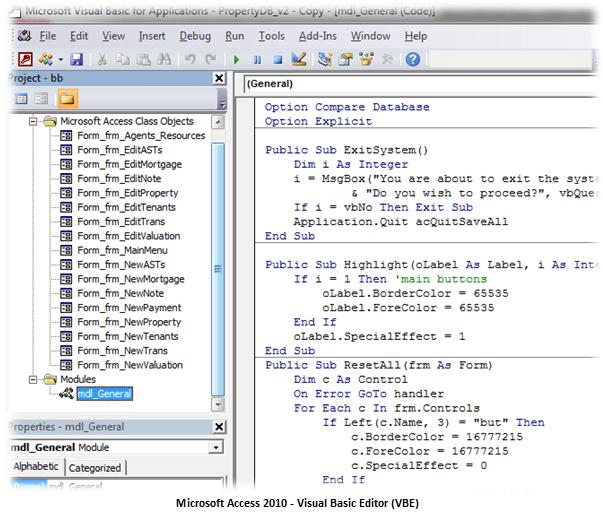 microsoft-access-vba-prgramming-vbe