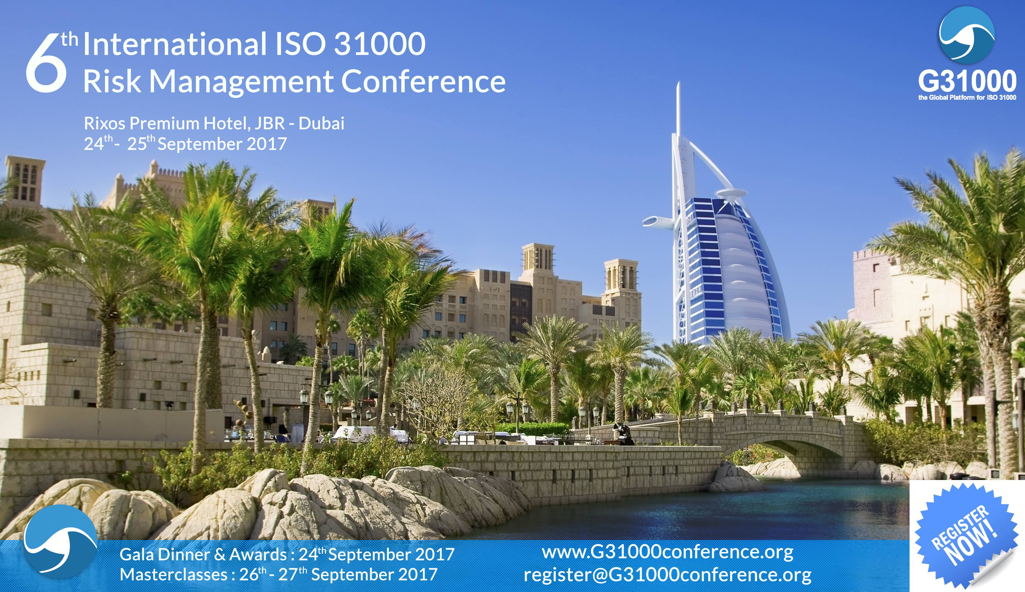 3 free tickets to G31000 risk management conference in Dubai 24-25 September 2017