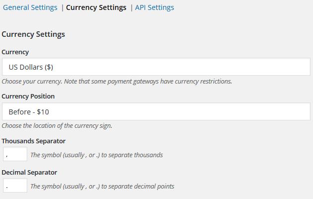 Easy Digital Downloads - Currency Settings