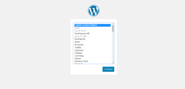 WordPress Setup Language