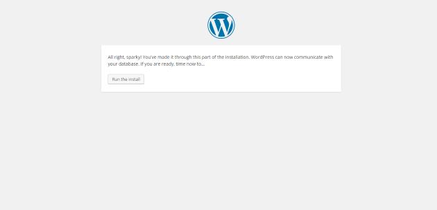 WordPress Setup Run Installation