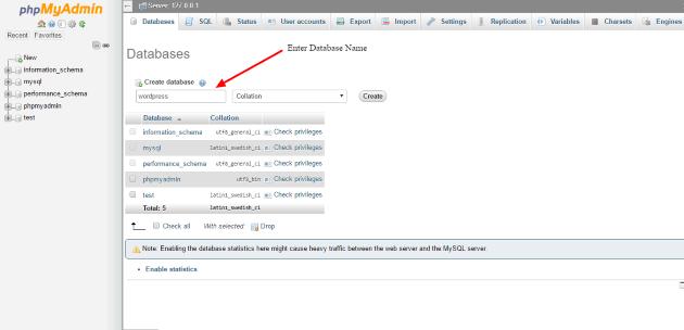 localhost phpMyAdmin create database