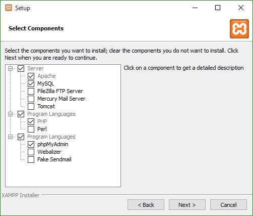 XAMPP Select Components