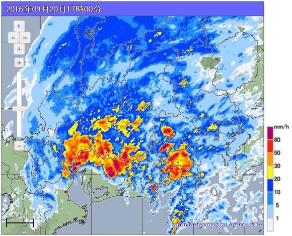 台風16号 気象レーダー画像