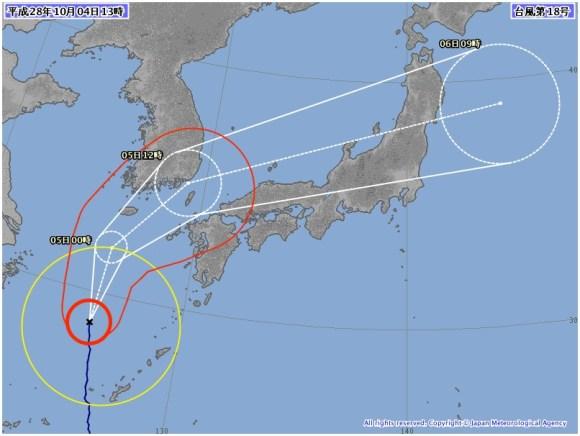 台風18号 気象庁の進路予想