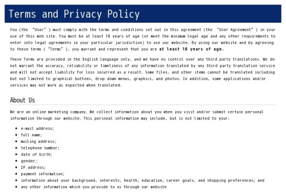 Terms and Privacy Policy