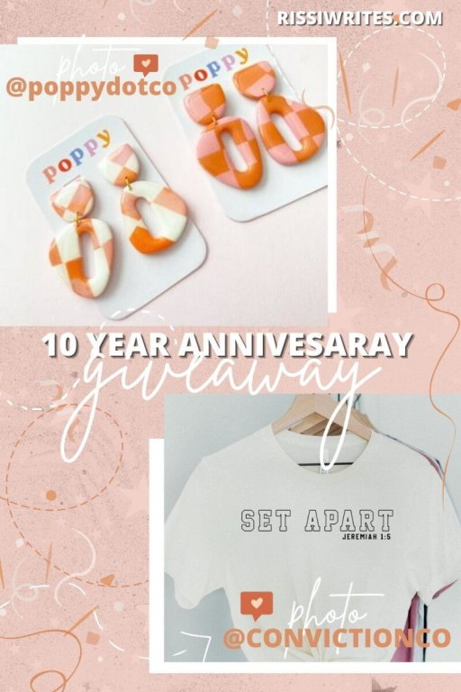 WIN INSPIRATIONAL T-SHIRTS & COLORFUL JEWELRY: 10 YEAR BLOG GIVEAWAY ONE. Small Business Jewelry and T-Shirt giveaway w Conviction Co. & Poppy Dot Co. © Rissi JC