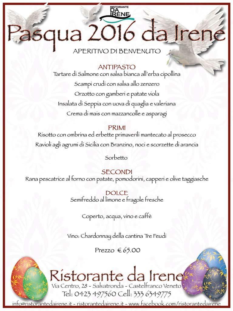 menù di pasqua 2016 del ristorante da irene