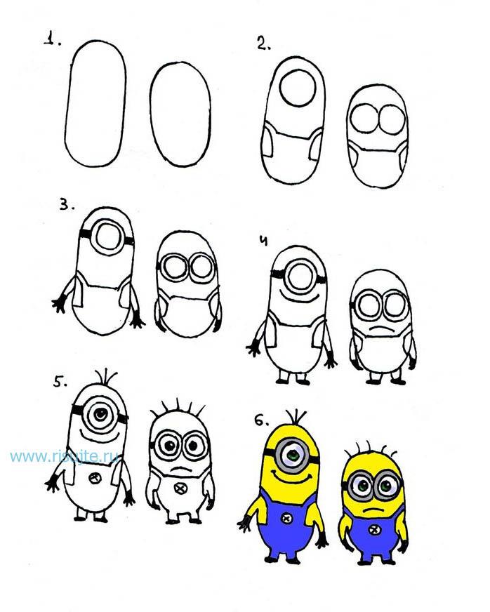 Открытка, как нарисовать смешные рисунки поэтапно карандашом