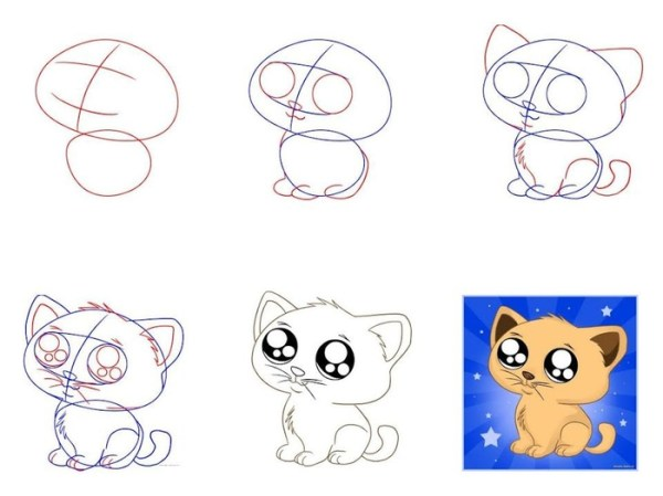 Как нарисовать котенка с милыми глазками поэтапно? Рисунки ...