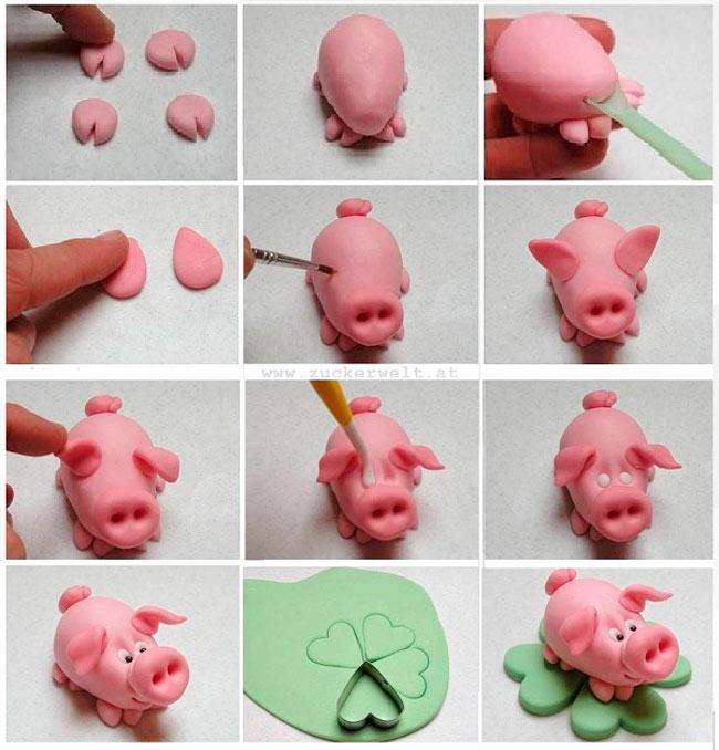 porosenok-iz-plastilina-na-novyj-god-20193 Как слепить свинку из пластилина – мастер-класс для детей. Поросята, свинки из пластилина, фигурки из мастики