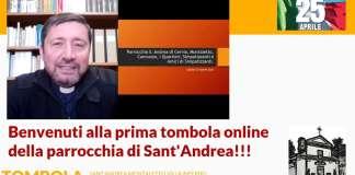 Don Alessandro Saporetti introduce la tombola on line